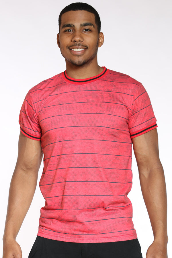 Men's Camo Striped Tee - Red-VIM.COM