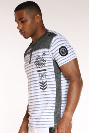 Men's 3 Button Striped Brooklyn Tee - White