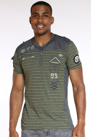 Men's 3 Button Striped Brooklyn Tee - Olive-VIM.COM