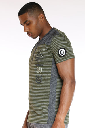Men's 3 Button Striped Brooklyn Tee - Olive
