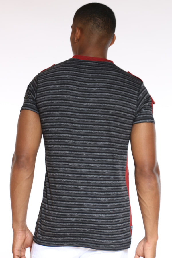 Men's 3 Button Striped Brooklyn Tee - Charcoal Burgundy
