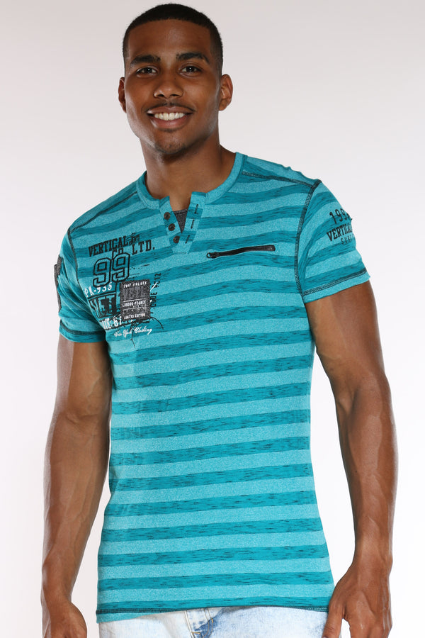 Men's 3 Button Striped 99 Tee - Teal-VIM.COM