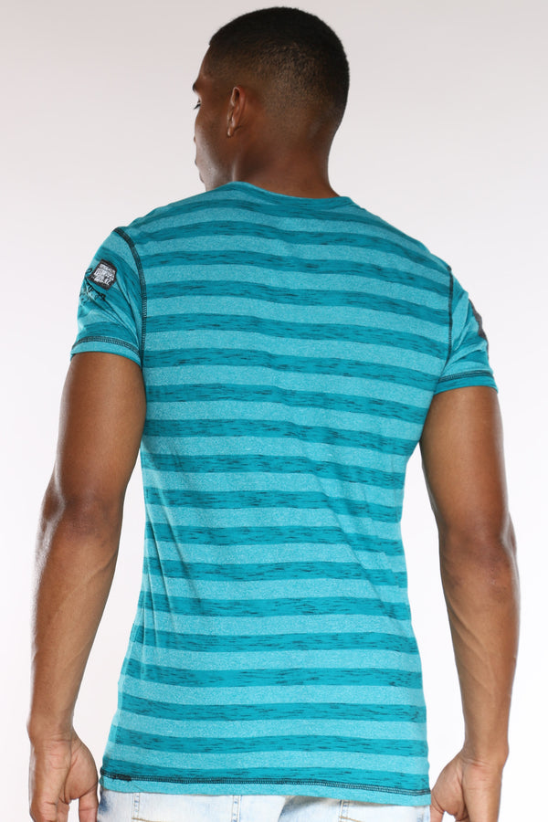 Men's 3 Button Striped 99 Tee - Teal