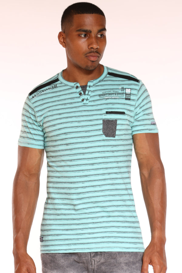 Men's 3 Button Striped Front Pocket Zip Tee - Pistachio-VIM.COM