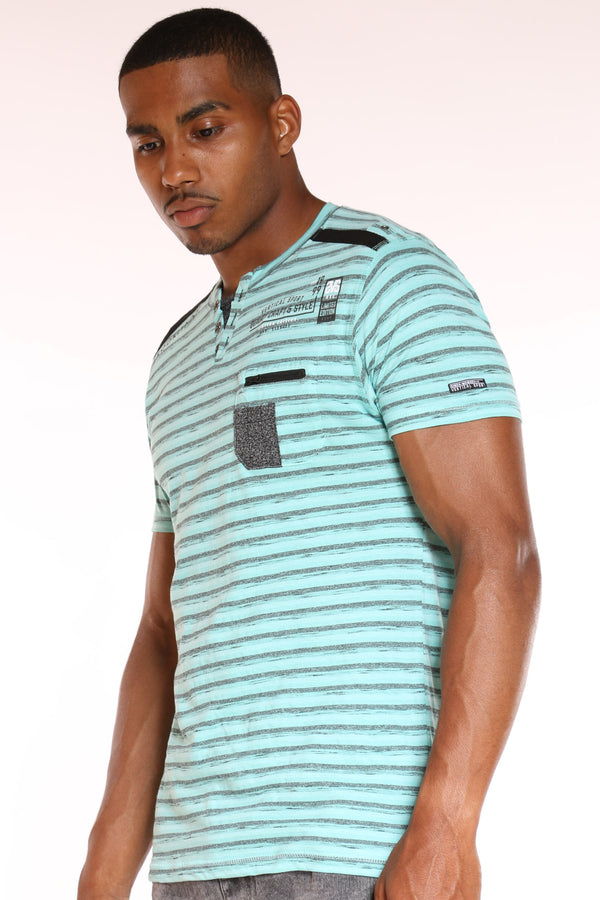 Men's 3 Button Striped Front Pocket Zip Tee - Pistachio