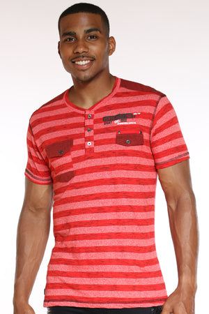 Men's 3 Button Striped 2 Front Pocket Tee - Red-VIM.COM