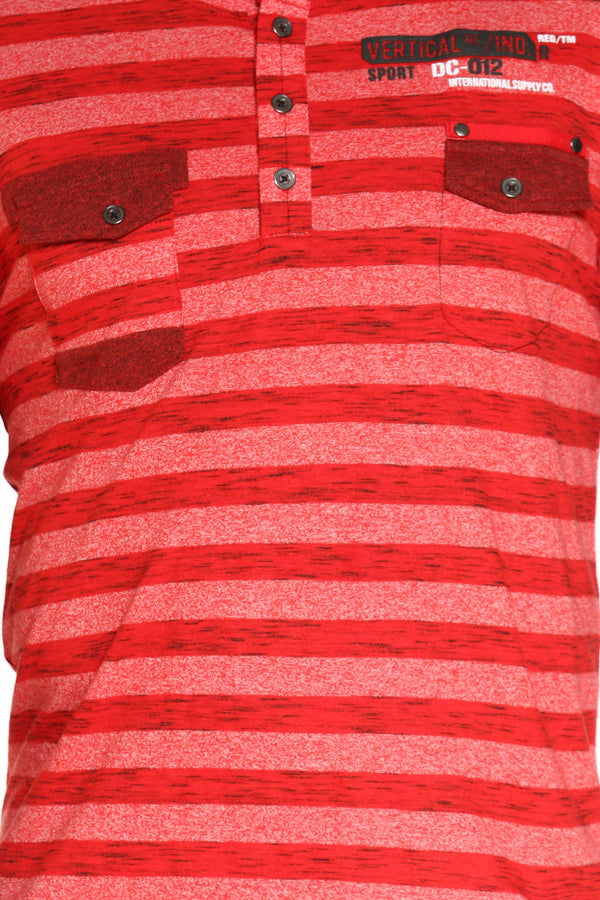 Men's 3 Button Striped 2 Front Pocket Tee - Red
