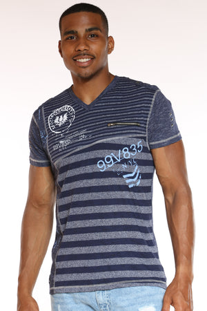 Men's Striped V Neck Front Zip Tee - Navy-VIM.COM