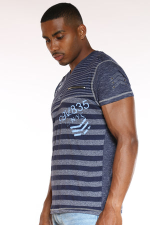 Men's Striped V Neck Front Zip Tee - Navy