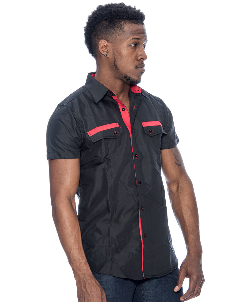 Men's Contrast Stitch Trim Woven Shirt (Available in 4 colors)