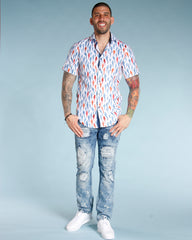 Men's ALL OVER SHARKS WOVEN SHIRT - WHITE