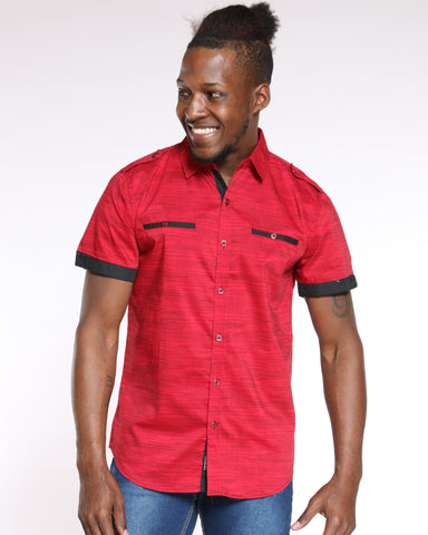 Men's Dotted Lined Contrast Woven Shirt - Red-VIM.COM