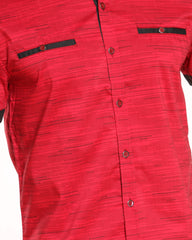 Dotted Lined Contrast Woven Shirt - Red