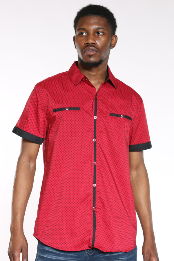Men's Tiny Squares Shirt - Red-VIM.COM