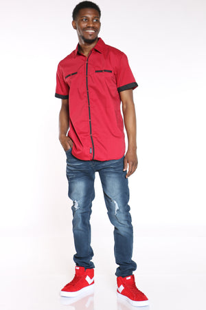 Men's Tiny Squares Shirt - Red