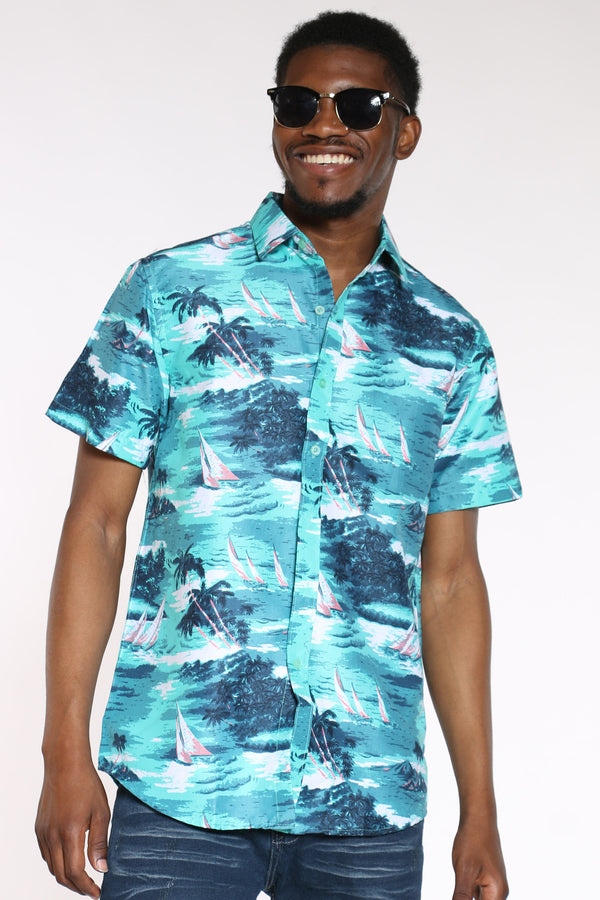 Men's Hawaiian Shirt - Green