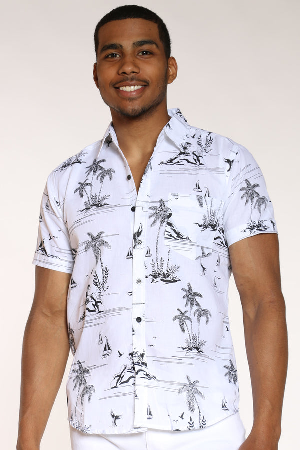 Men's Hawaiian Print Shirt - White-VIM.COM