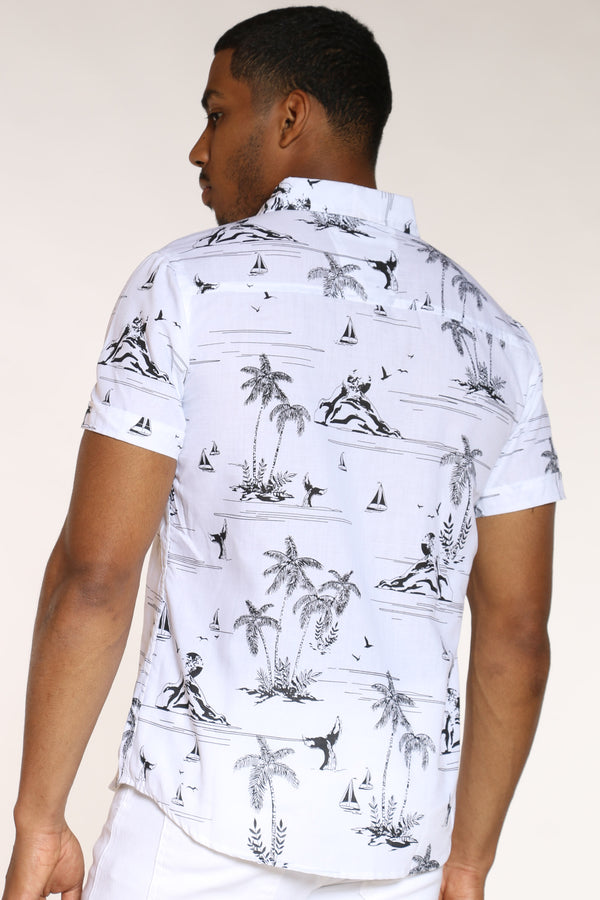 Men's Hawaiian Print Shirt - White