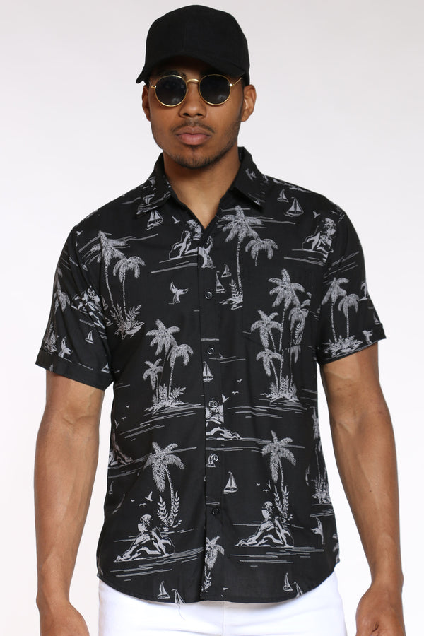 Men's Hawaiian Print Shirt - Black-VIM.COM