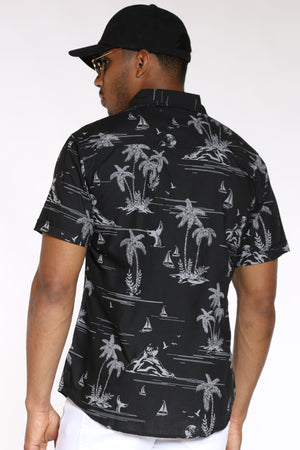 Men's Hawaiian Print Shirt - Black