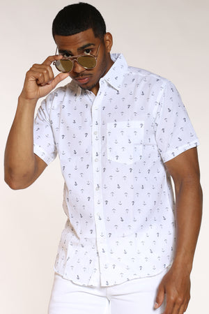 Men's Anchors Print Shirt - White-VIM.COM