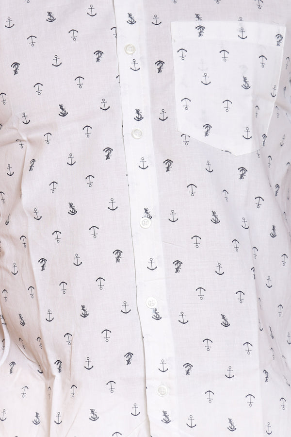 Men's Anchors Print Shirt - White