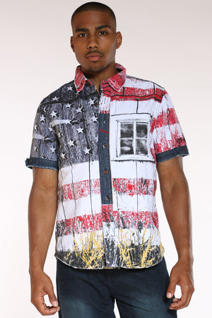 Men's American Flag Woven Shirt - White-VIM.COM