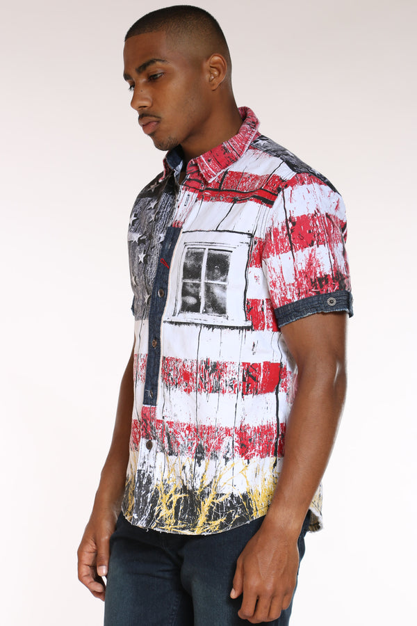 Men's American Flag Woven Shirt - White
