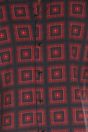 Men's Boxes Print Woven Shirt - Red