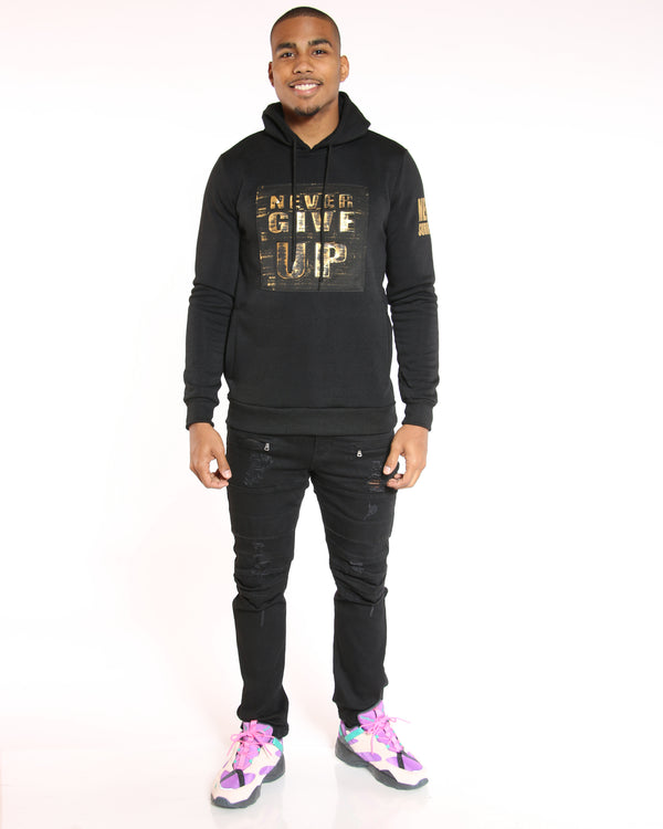 VIM Meek Never Give Up Brushed Metallic Hoodie - Black - Vim.com
