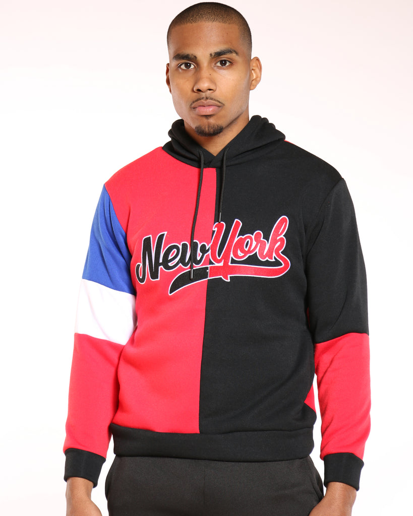 VIM New York Split Color Hoodie - Red Black - Vim.com
