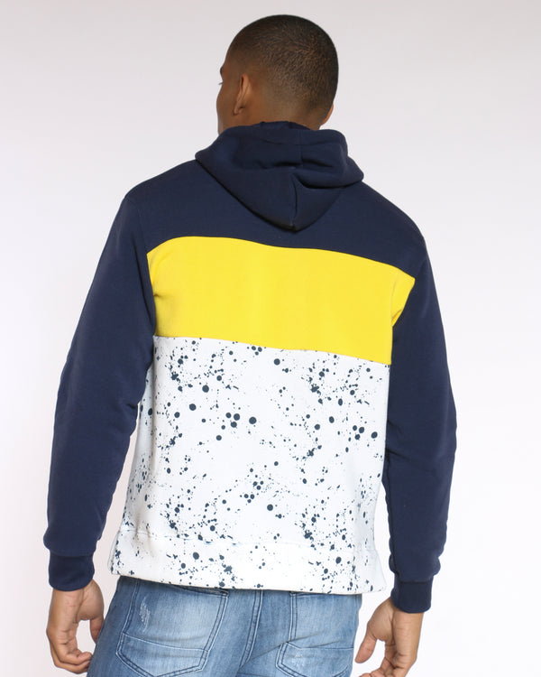 Men's Respeck Paint Splatter Color Block Hoodie - Navy Gold