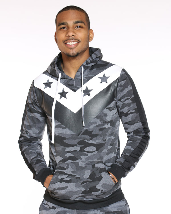 VIM Star Color Block Fleece Hoodie - Grey Camo - Vim.com