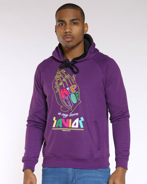Men's Hip Hop Savior Hand Colorful Hoodie - Purple-VIM.COM