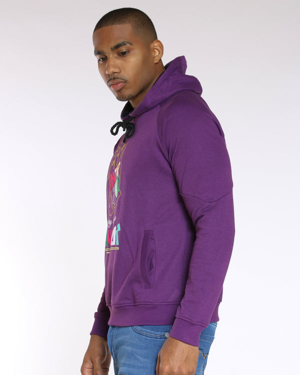Men's Hip Hop Savior Hand Colorful Hoodie - Purple