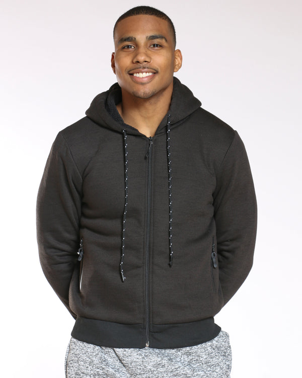Men's Sherpa Lined Fleece Hoodie - Black-VIM.COM