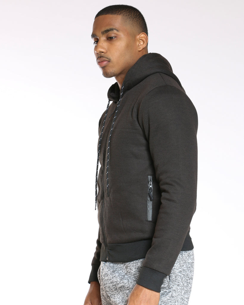 Men's Sherpa Lined Fleece Hoodie - Black