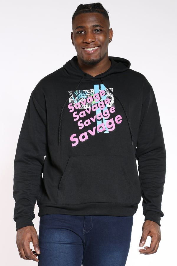 Men's Pink Savage Repeat Hoodie - Black-VIM.COM