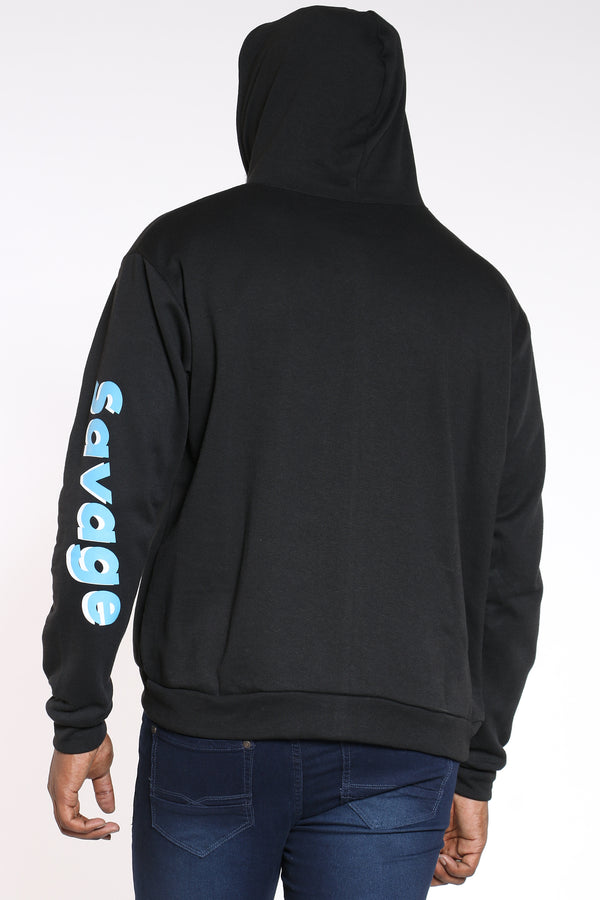 Men's Pink Savage Repeat Hoodie - Black