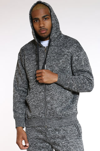 Men's Marled Heavy Fleece Hoodie - Black-VIM.COM