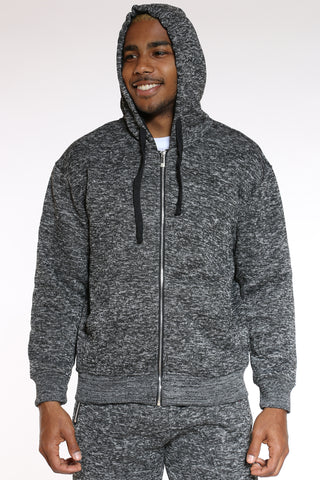 Men's Marled Heavy Fleece Hoodie - Charcoal-VIM.COM