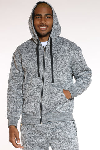 Men's Marled Heavy Fleece Hoodie - Medium Grey-VIM.COM