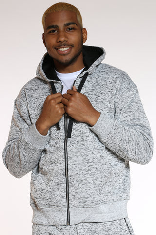 Men's Marled Heavy Fleece Hoodie - Light Grey-VIM.COM