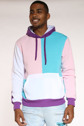 Men's Color Block Hoodie - Pink Purple-VIM.COM