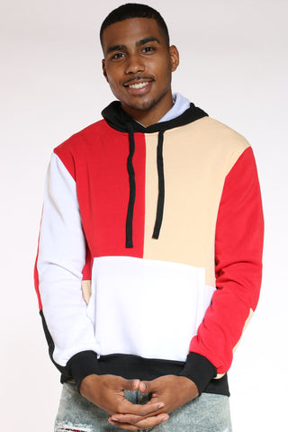 Men's Color Block Hoodie - Red Black Yellow-VIM.COM