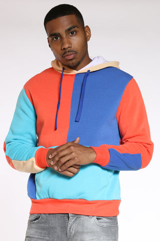 Men's Color Block Hoodie - Orange Blue-VIM.COM