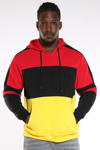 Men's Legend Embossed Colorblock Po Hoodie - Red Black Gold-VIM.COM