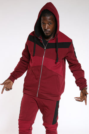 Men's Moto Fleece Hoodie - Burgundy-VIM.COM