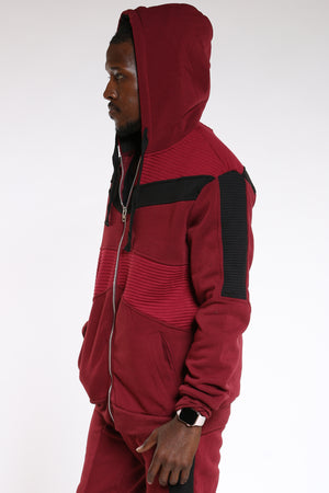 Men's Moto Fleece Hoodie - Burgundy