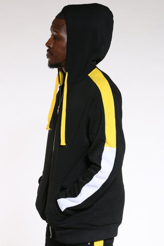 Men's Color Block Sleeves Hoodie - Black Yellow-VIM.COM